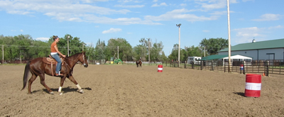 At the rate point a horse is trained to shift his weight back to prepare for the turn.
