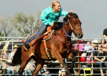 11 year old Taylor running in her new sponsored barrel saddle.