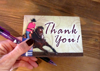 Thank your generous barrel racing sponsors.