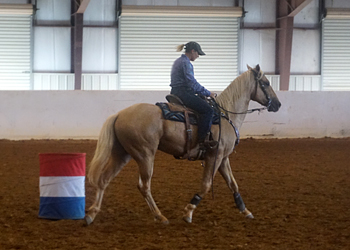 Keep the hind end engaged as you finish the turn.